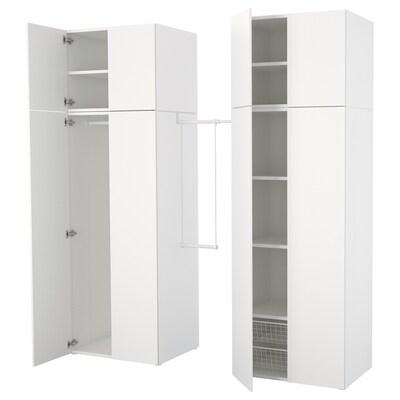 PLATSA Garderobeskap, hvit/Fonnes hvit, 195-220x57x241 cm