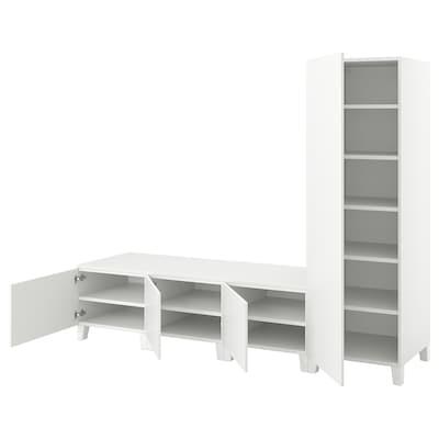 PLATSA Garderobeskap m 4 dører, hvit/Fonnes hvit, 240x57x191 cm