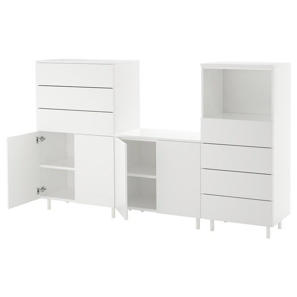 PLATSA oppbevaringskombinasjon hvit/Fonnes hvit 220 cm 42 cm 133 cm