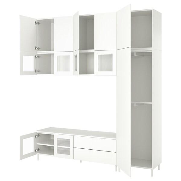 PLATSA TV-løsning med 12 dører, 2 skuffer, hvit/Fonnes Värd, 220x42x251 cm