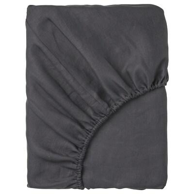 PUDERVIVA Laken, fasongsydd, mørk grå, 90x200 cm