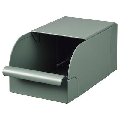 REJSA Kasse, grågrønn/metall, 9x17x7.5 cm