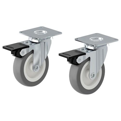 RILL hjul med brems grå 75 mm 55 kg 10 cm 2 stk.