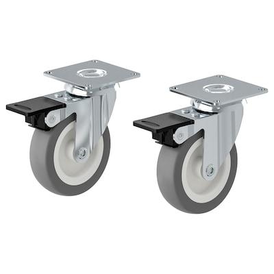 RILL Hjul med brems, grå, 75 mm
