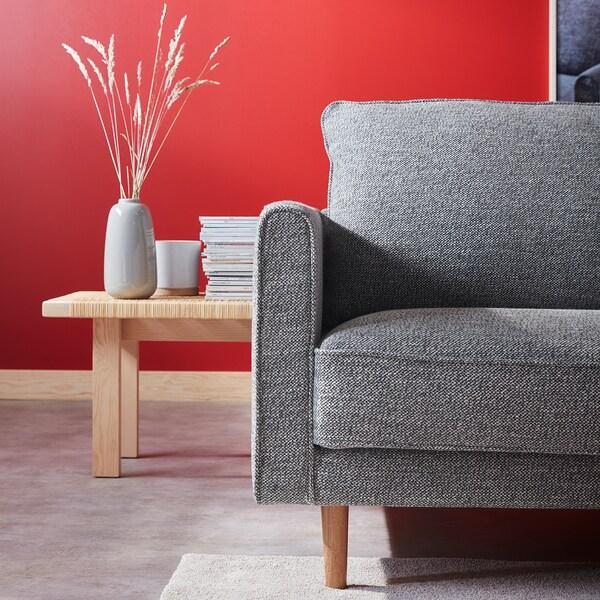 RINGSTORP 3-seters sofa, svart/hvit/natur
