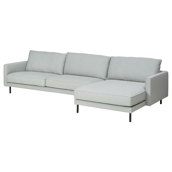 RINGSTORP 4-seters sofa, med sjeselong/lys grå svart