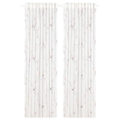 RÖDLÖNN Gardiner, 1 par, hvit/blomst, 145x250 cm