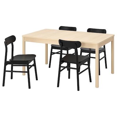RÖNNINGE / RÖNNINGE bord og 4 stoler bjørk/svart 155 cm 210 cm 90 cm 75 cm