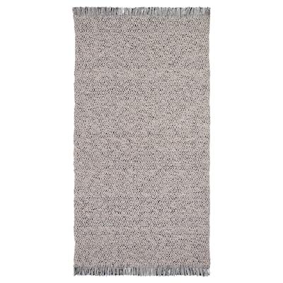 RÖRKÄR Teppe, flatvevd, svart/natur, 80x150 cm