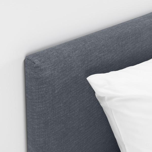 SÄBÖVIK Kontinentalseng, fast/Vissle grå, 160x200 cm