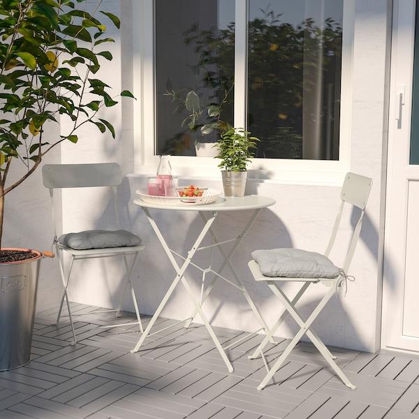SALTHOLMEN Bord + 2 klappstoler, utendørs, beige