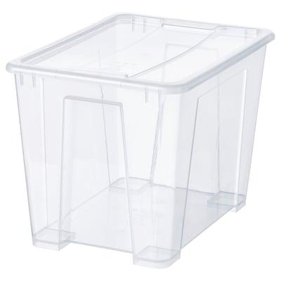 SAMLA Kasse med lokk, transparent, 39x28x28 cm/22 l
