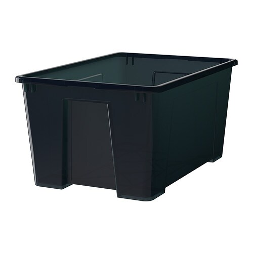 Samla kasse svart ikea - Cajas de plastico ikea ...