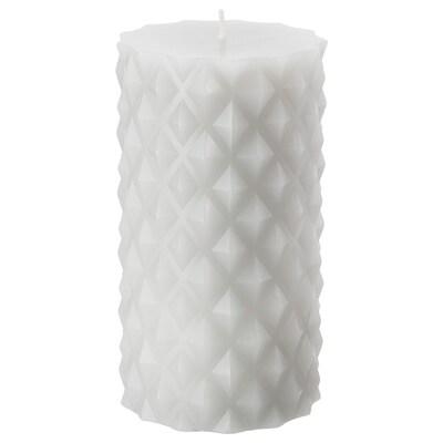 SAMTYCKA kubbelys, uparfymert lys grå 14 cm 8 cm 50 hr