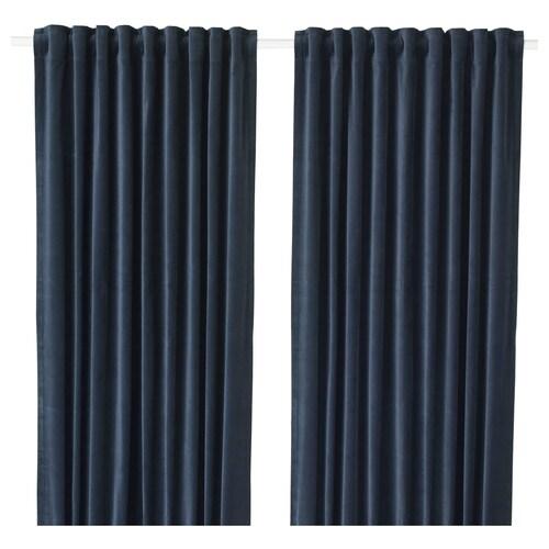 SANELA lysdempende gardiner mørk blå 300 cm 140 cm 2.51 kg 4.20 m² 2 stk.