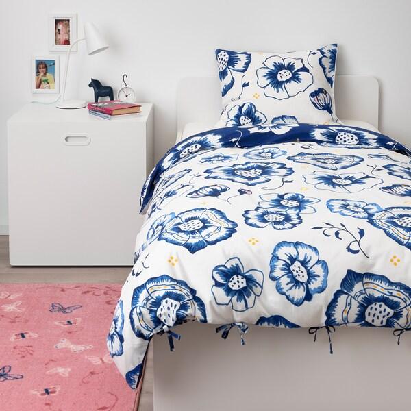 SÅNGLÄRKA Dynetrekk og putevar, blomst/mørk blå hvit, 150x200/50x60 cm