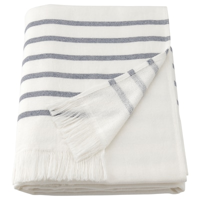 SIESJÖN Badehåndkle, hvit/blå stripe, 70x140 cm