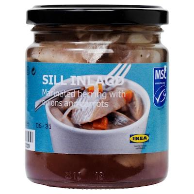 SILL INLAGD Marinert sild med løk og gulrøtter, 250 g