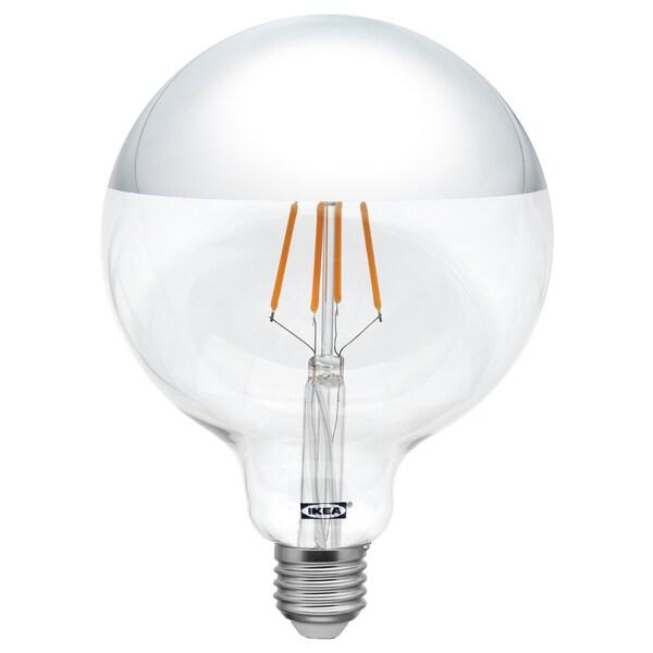 SILLBO LED pære E27 370 lumen globe, speiltopp sølvfarget 125 mm