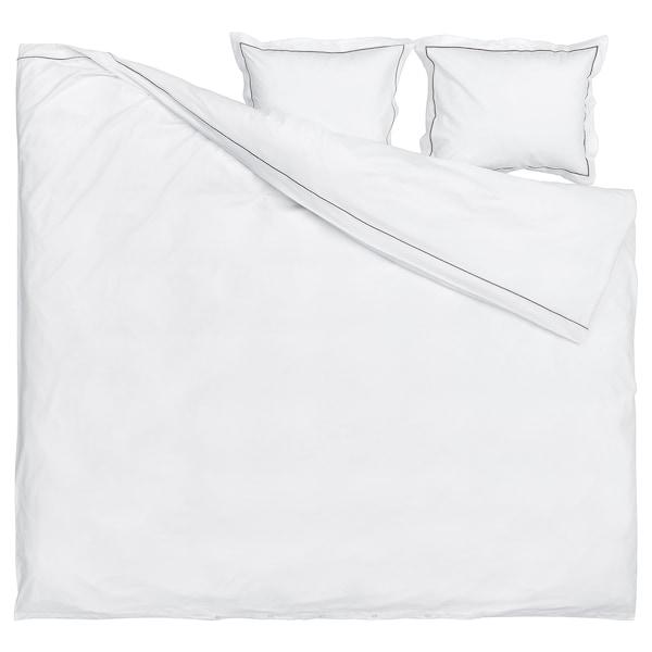 SILVERTISTEL Dynetrekk og 2 putevar, hvit/mørk grå, 240x220/50x60 cm