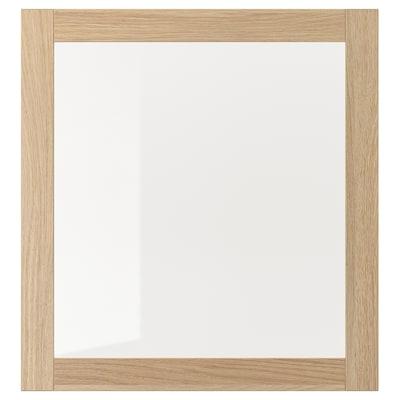 SINDVIK Vitrinedør, hvitbeiset eikemønster/klart glass, 60x64 cm
