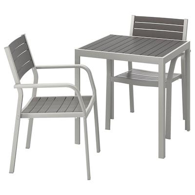SJÄLLAND Bord+2 stoler med armlener, utend., mørk grå/lys grå, 71x71x73 cm