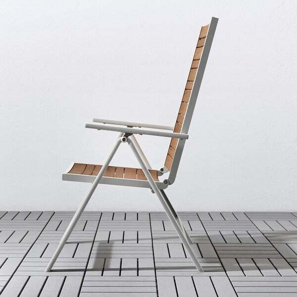 SJÄLLAND Bord + 4 regulerbare stoler, utend, lys brun/Kuddarna grå, 156x90 cm