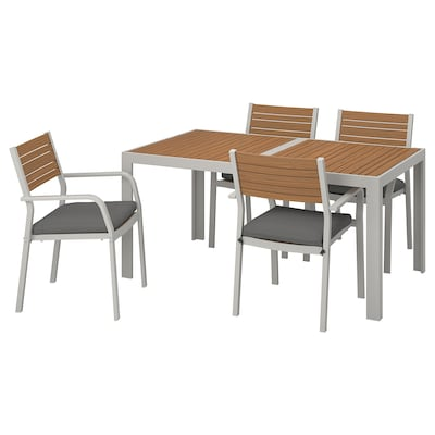 SJÄLLAND Bord + 4 stoler m armlener, utend, lys brun/Frösön/Duvholmen mørk grå, 156x90 cm
