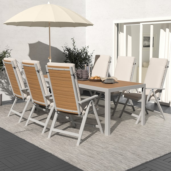 SJÄLLAND Bord + 6 regulerbare stoler, utend, lys brun/Frösön/Duvholmen beige, 220x90 cm