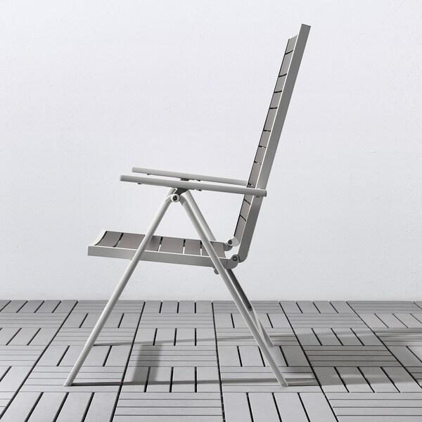 SJÄLLAND bord + 6 regulerbare stoler, utend mørk grå/Kuddarna grå 156 cm 90 cm 73 cm