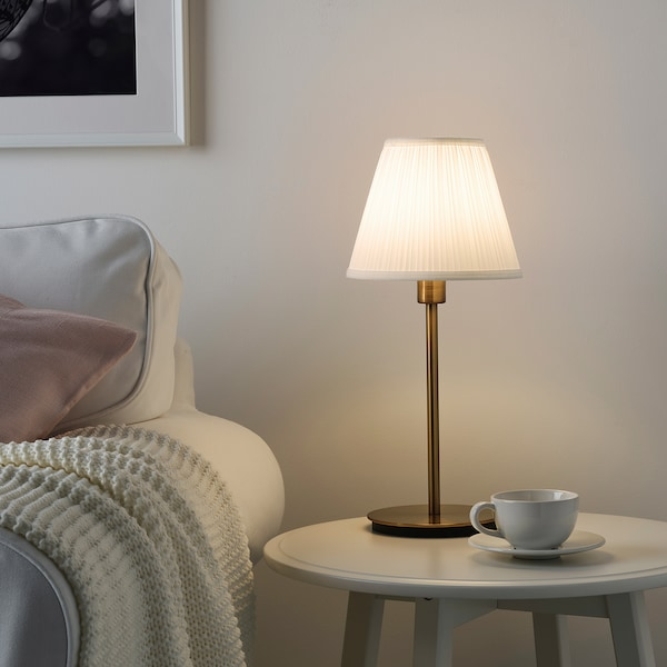 SKAFTET Bordlampefot, messingfarget, 30 cm