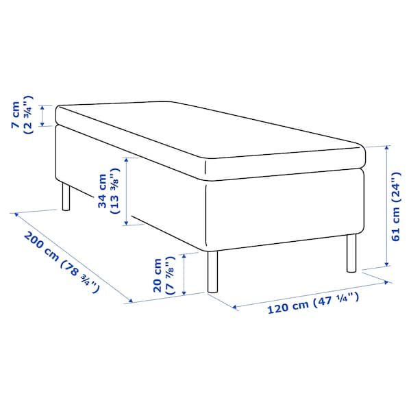 SKOTTERUD Madrass og overmadrass, medium/Tustna, 120x200 cm
