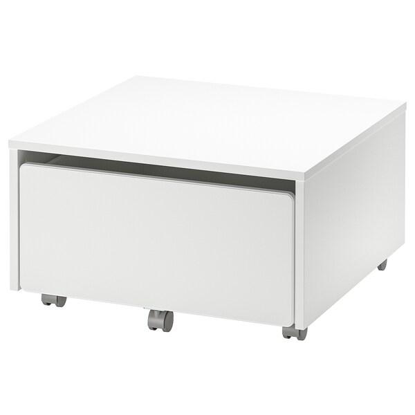 SLÄKT kasse til oppbevaring med hjul hvit 62 cm 62 cm 35 cm 52 cm 53 cm