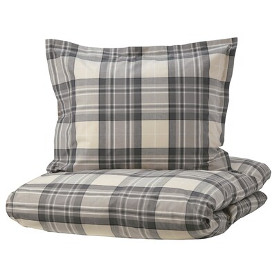SMALRUTA Enkelt sengesett, grå/rute, 150x200/50x60 cm