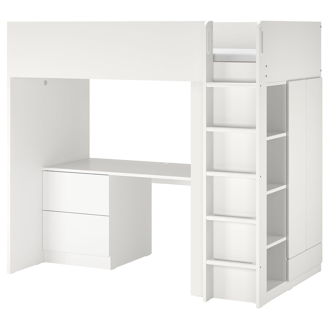 SMÅSTAD Loftsseng hvit hvitmed skrivebord med 3 skuffer