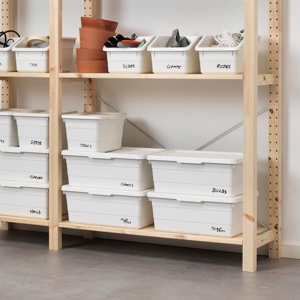 SOCKERBIT Kasse med lokk, hvit, 38x25x15 cm