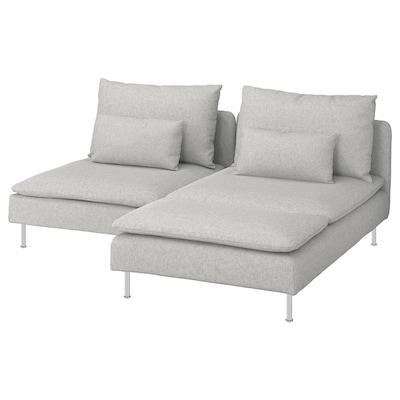 SÖDERHAMN 2-seters sofa, med sjeselong/Tallmyra hvit/svart/grå