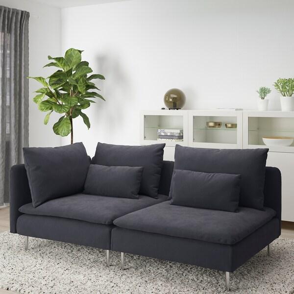 SÖDERHAMN 3-seters sofa, med åpen ende/Samsta mørk grå