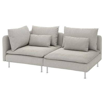 SÖDERHAMN 3-seters sofa, med åpen ende/Viarp beige/brun
