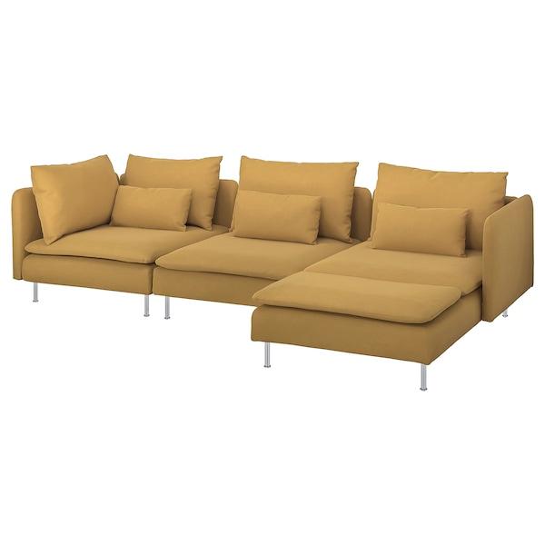 SÖDERHAMN 4-seters sofa med sjeselong/Samsta mørk gul 83 cm 69 cm 151 cm 291 cm 99 cm 122 cm 14 cm 70 cm 39 cm