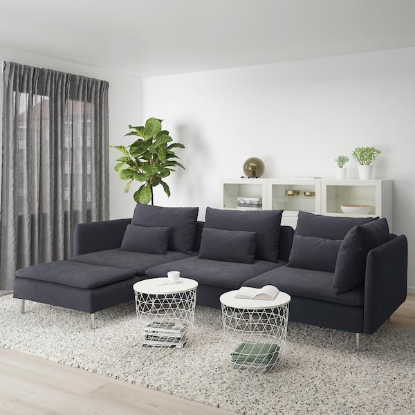SÖDERHAMN 4-seters sofa, med sjeselong/Samsta mørk grå