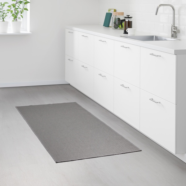SÖLLINGE Teppe, flatvevd, grå, 65x150 cm