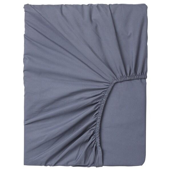 SÖMNTUTA fasongsydd laken for overmadrass blågrå 400 /inch² 200 cm 90 cm 8 cm