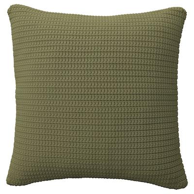 SÖTHOLMEN Putetrekk, inne/utendørs, beige-grønn, 50x50 cm
