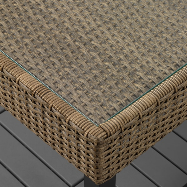 SOLLERÖN 4-seters møbelgruppe, utendørs brun/Kuddarna beige