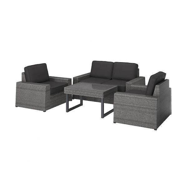 SOLLERÖN 4-seters møbelgruppe, utendørs mørk grå/Järpön/Duvholmen antrasitt