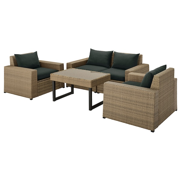 SOLLERÖN 4-seters møbelgruppe, utendørs, brun/Hållö svart