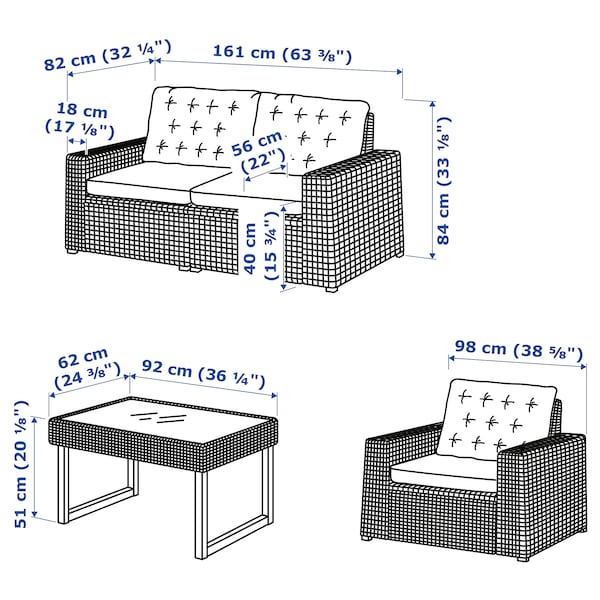 SOLLERÖN 4-seters møbelgruppe, utendørs, brun/Kuddarna beige