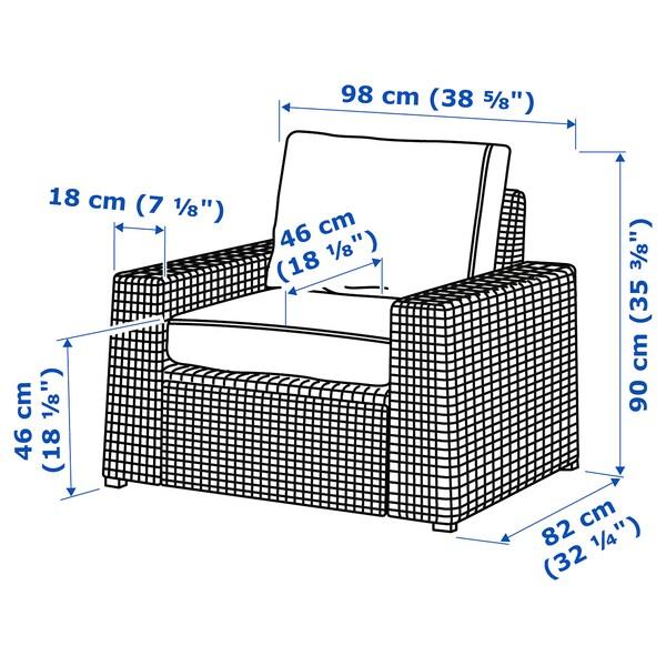 SOLLERÖN Lenestol, utendørs, brun/Järpön/Duvholmen antrasitt