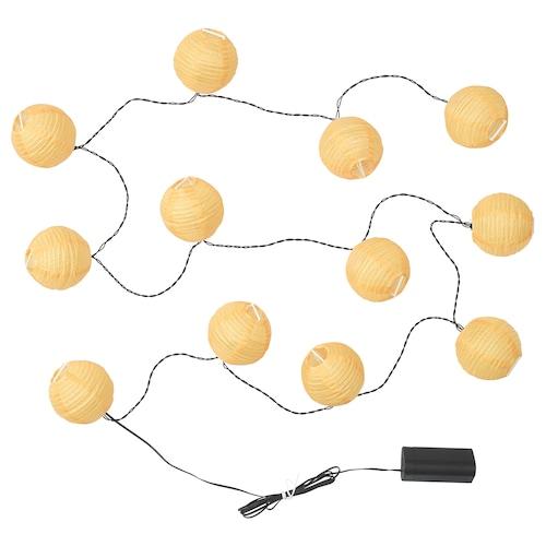 SOLVINDEN LED-lyslenke med 12 lys batteridrevet/utendørs gul 1.5 m 19 cm 2.1 m 0.1 W 3.6 m
